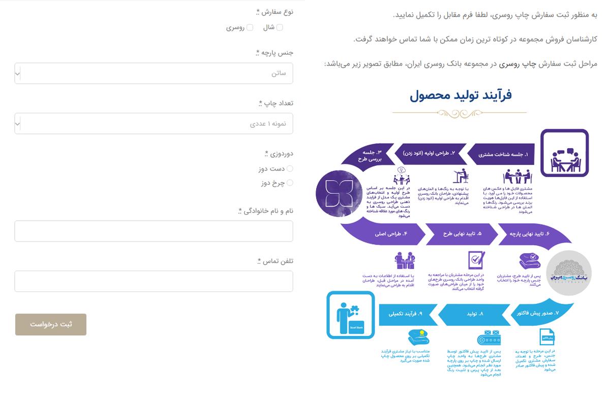 فرم سفارش چاپ روسری در بانک روسری ایران